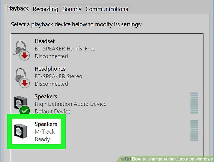 change sound output for application