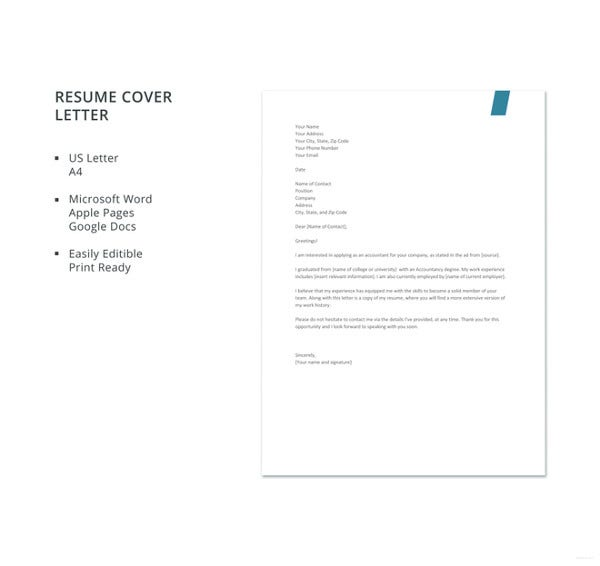 job application letter for an experienced accountant
