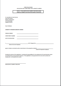 singapore work permit visa application form