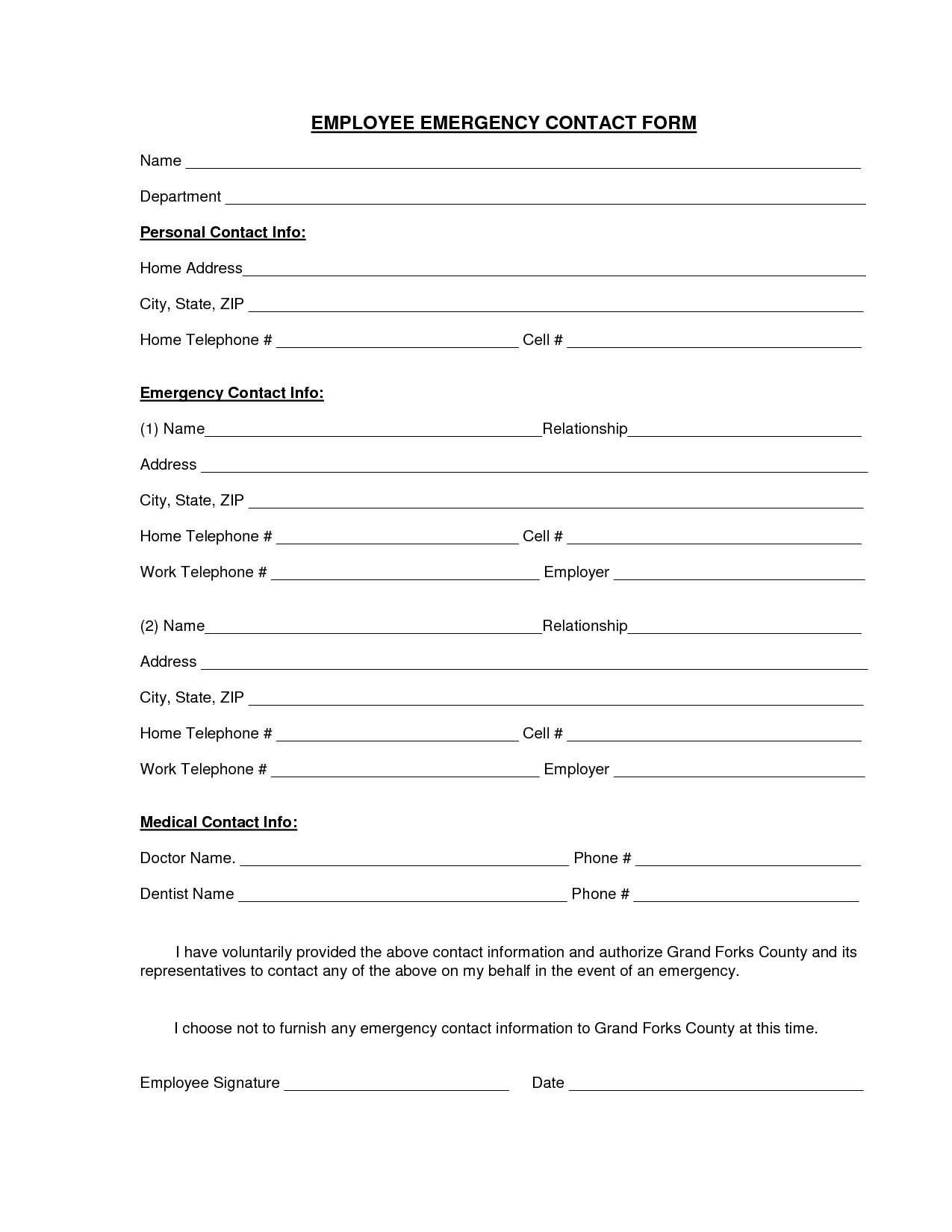 emergency contact number on rental application form