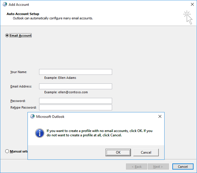 mail microsoft outlook 2016 control panel application not found