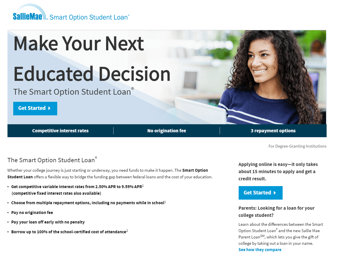 sallie mae student loan application