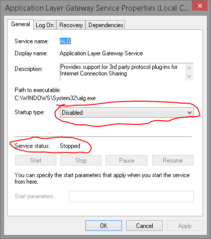 application layer gateway service disable