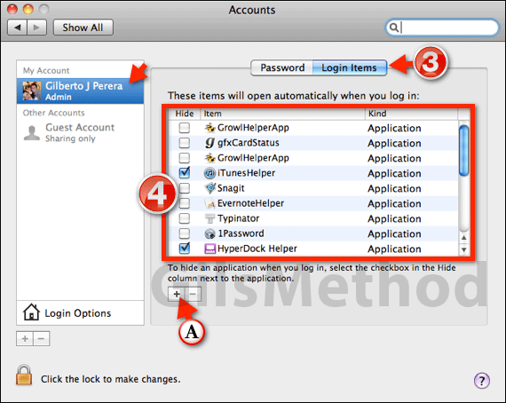 controlling what applications boot at start up os x