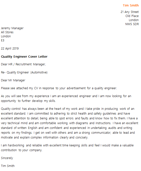cover letter for a engineering job application examples