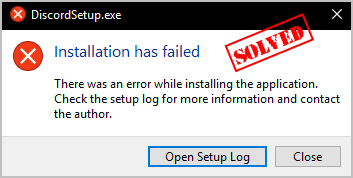when i try to install discord update.exe application errors