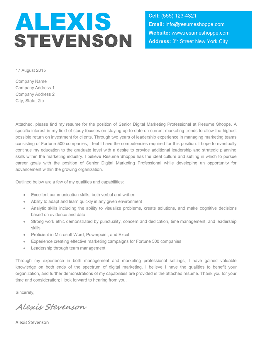layout for the modern cover letter for a job application