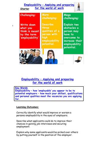 life skills job application worksheet