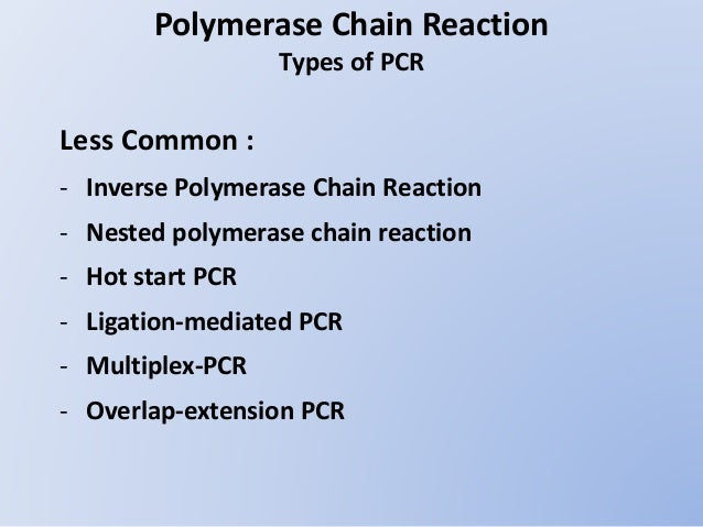 polymerase chain reaction methods and application